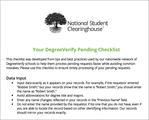 DegreeVerify Pending Checklist