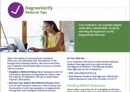 DegreeVerify Referral Tip Sheet