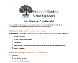 Deferment Form Checklist