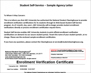 Student Self-Service Agency Letter & Certificate