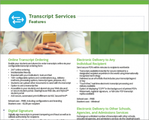 Transcript Services Features Flyer